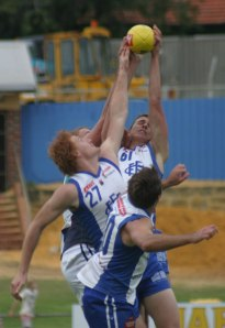 East Fremantle's Brandon Ellis gets his hands to the ball in a marking contest.