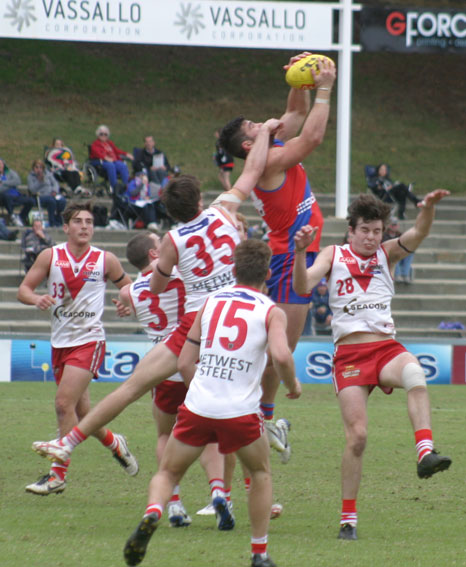 UP AND ADAMS: West Perth's Marcus Adams marks in a pack of Bulldogs. Photo by Les Everett.