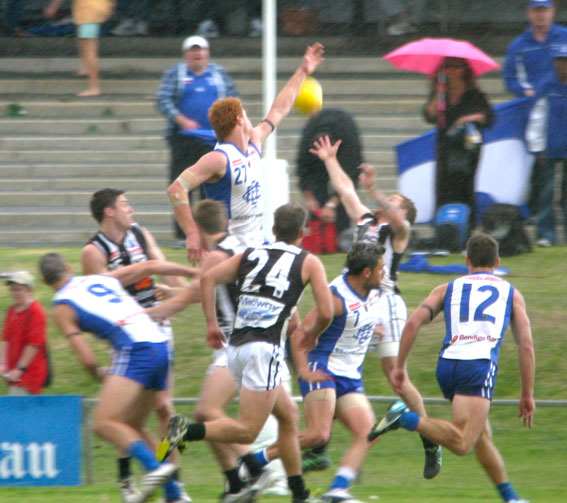 James Bristow makes a contest during the last quarter at East Fremantle Oval.