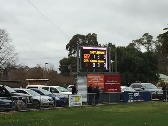 The scoreboard early in our feature game. Photo by Neil Belford.