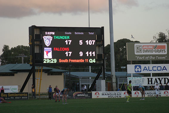 The new digital scoreboard at Rushton Park. Photos by Les Everett