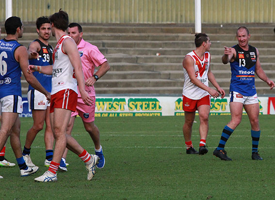 Oakley-Nicholls got upset and pushy late in the game and his captain Craig Wulff suggested he pull his head in.