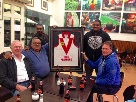 Seated in this photo are (l-r) South Fremantle 1980 premiership players Wayne Delmenico, Basil Campbell and Derek Shaw.