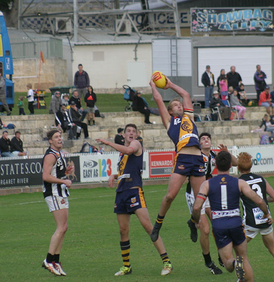 Claremont's Beau Maister marks strongly at the Showgrounds.