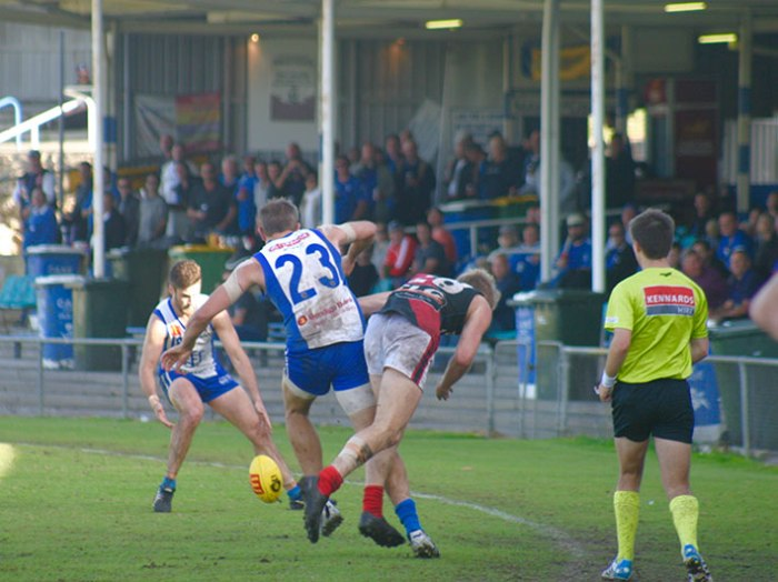 East Fremantle's Rob Young provides a bit of space for team mate Ryan Lester-Smith. Photo by Les Everett
