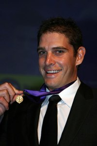 Aaron Sandilands with the Doig Medal he won in 2009. Photo Fremantle Football Club.